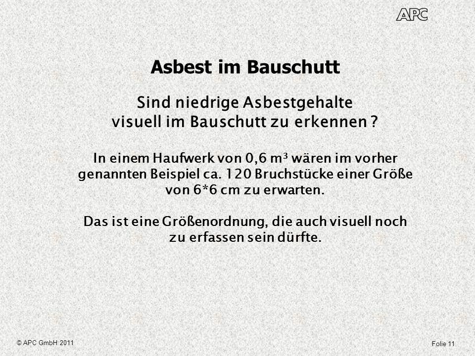 Folie 11 © APC GmbH 2011 Asbest im Bauschutt Sind niedrige Asbestgehalte visuell im Bauschutt zu erkennen ? In einem Haufwerk von 0,6 m³ wären im vorh