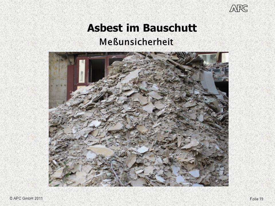 Folie 19 © APC GmbH 2011 Asbest im Bauschutt Meßunsicherheit