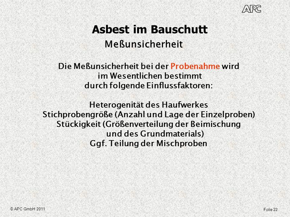 Folie 22 © APC GmbH 2011 Asbest im Bauschutt Meßunsicherheit Die Meßunsicherheit bei der Probenahme wird im Wesentlichen bestimmt durch folgende Einfl