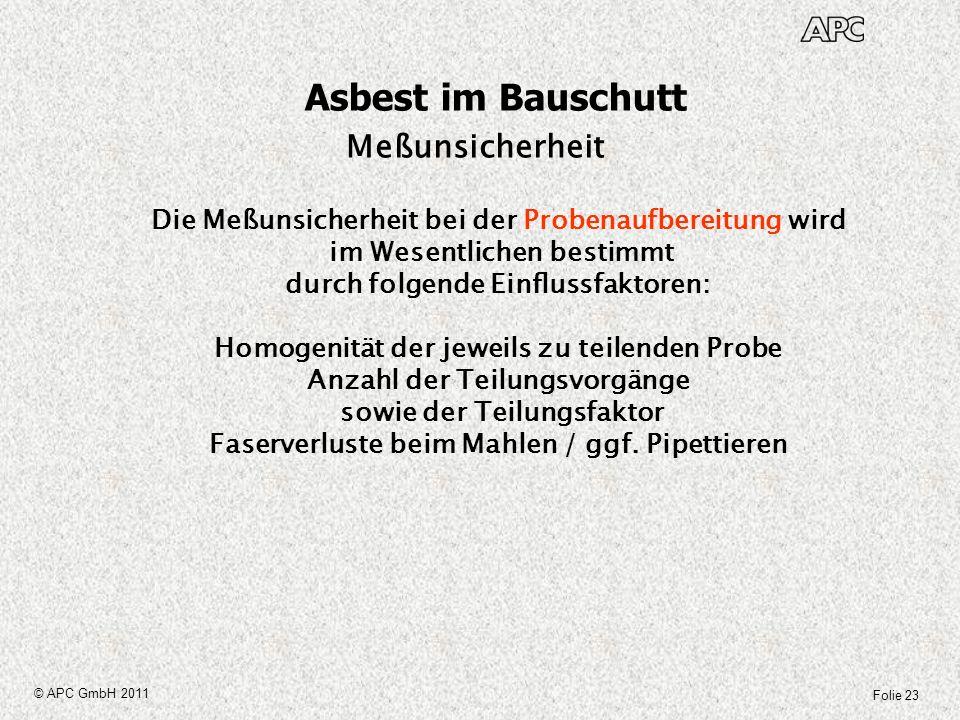 Folie 23 © APC GmbH 2011 Asbest im Bauschutt Meßunsicherheit Die Meßunsicherheit bei der Probenaufbereitung wird im Wesentlichen bestimmt durch folgen