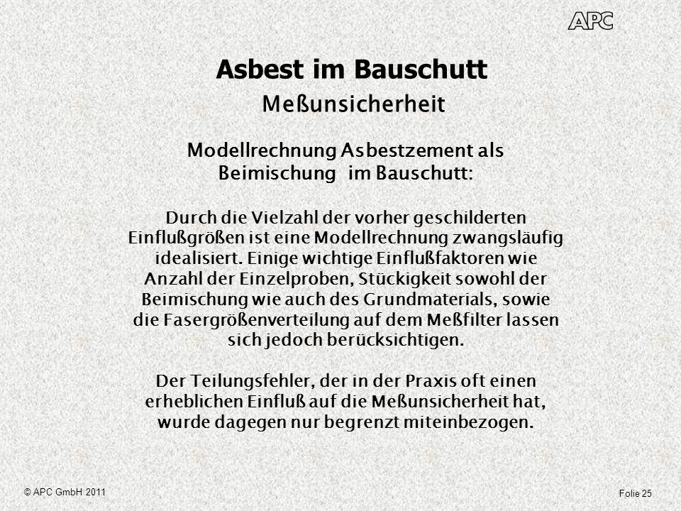 Folie 25 © APC GmbH 2011 Asbest im Bauschutt Meßunsicherheit Modellrechnung Asbestzement als Beimischung im Bauschutt: Durch die Vielzahl der vorher g