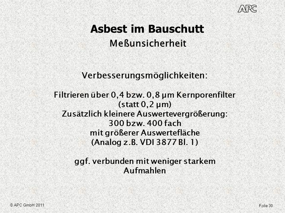 Folie 30 © APC GmbH 2011 Asbest im Bauschutt Meßunsicherheit Verbesserungsmöglichkeiten: Filtrieren über 0,4 bzw. 0,8 µm Kernporenfilter (statt 0,2 µm