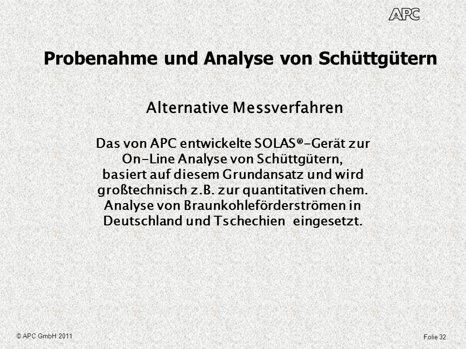 Folie 32 © APC GmbH 2011 Probenahme und Analyse von Schüttgütern Alternative Messverfahren Das von APC entwickelte SOLAS®-Gerät zur On-Line Analyse vo