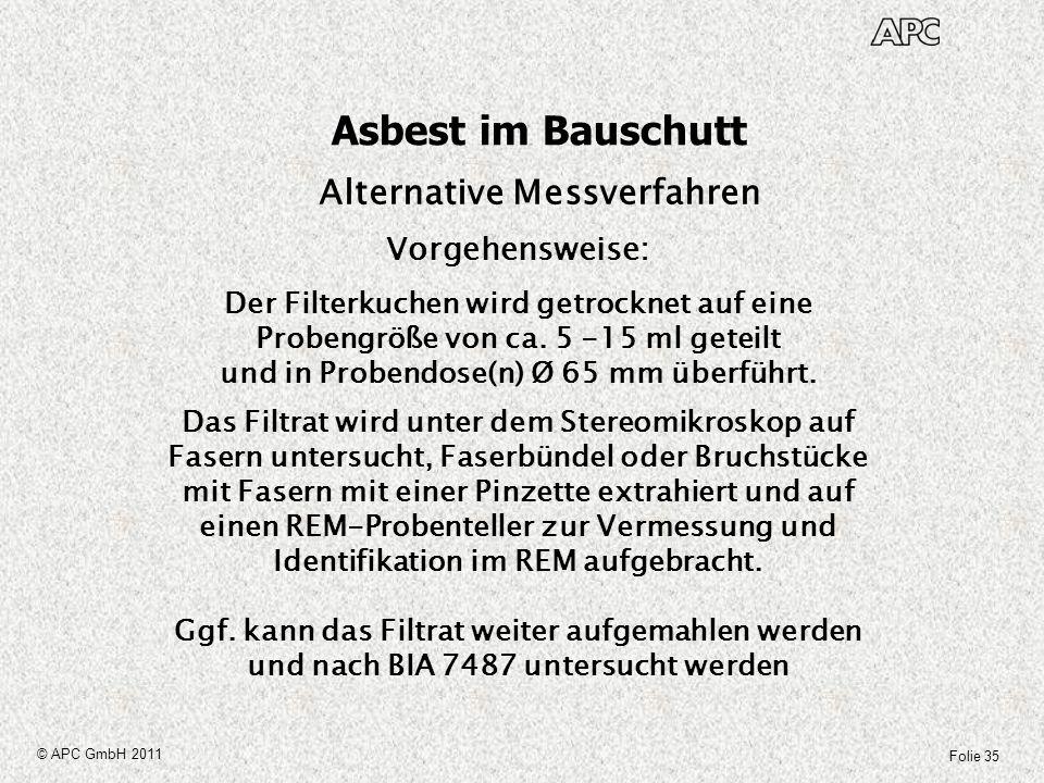 Folie 35 © APC GmbH 2011 Asbest im Bauschutt Alternative Messverfahren Vorgehensweise: Der Filterkuchen wird getrocknet auf eine Probengröße von ca. 5