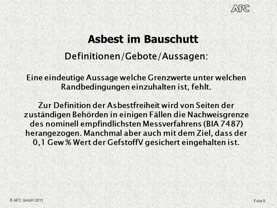 Folie 9 © APC GmbH 2011 Asbest im Bauschutt AVV AbfallschlüsselAbfallbezeichnung 17 06 01 Dämmmaterial, das Asbest enthält 17 06 05 Asbesthaltige Baustoffe 17 09 03 Sonstige Bau- und Abbruchabfälle, die gefährliche Stoffe enthalten Abfallschlüssel