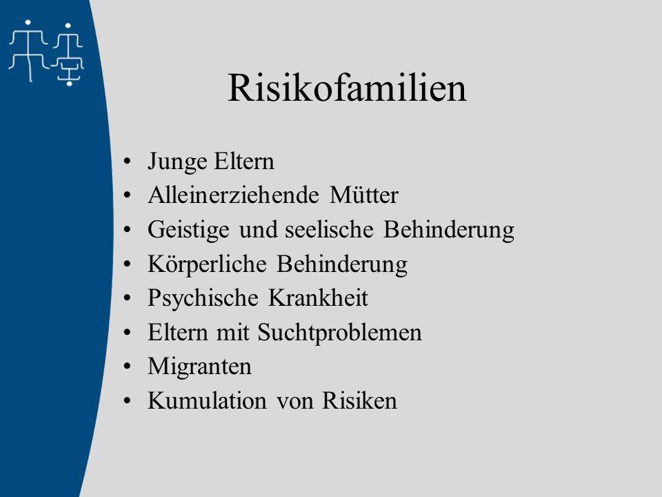 Risikofamilien Junge Eltern Alleinerziehende Mütter Geistige und seelische Behinderung Körperliche Behinderung Psychische Krankheit Eltern mit Suchtproblemen Migranten Kumulation von Risiken