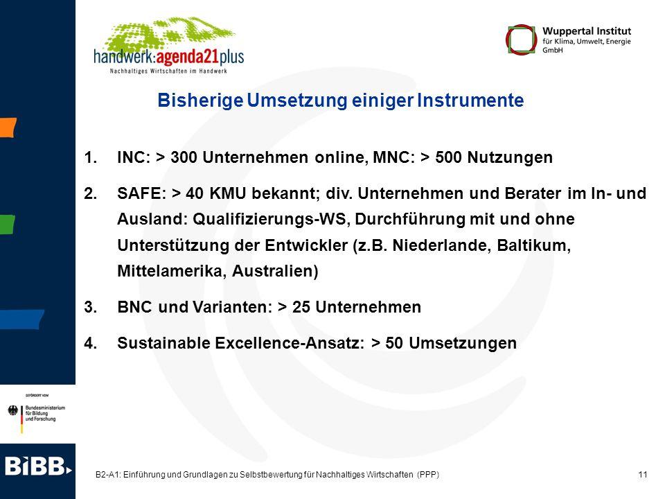 11 B2-A1: Einführung und Grundlagen zu Selbstbewertung für Nachhaltiges Wirtschaften (PPP) 1.INC: > 300 Unternehmen online, MNC: > 500 Nutzungen 2.SAF