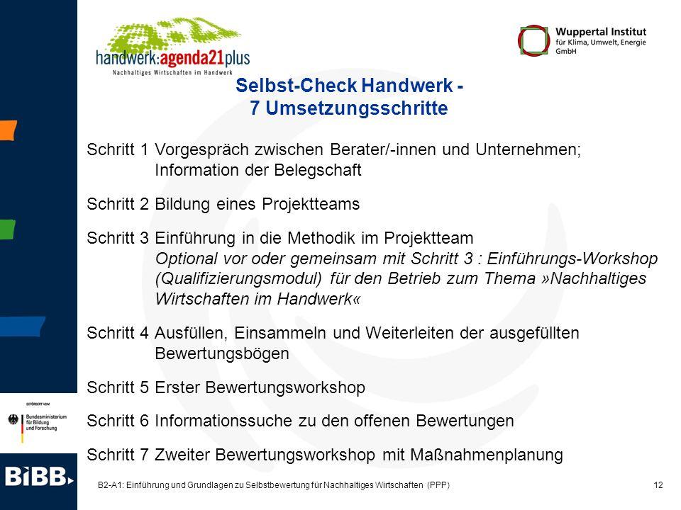 12 B2-A1: Einführung und Grundlagen zu Selbstbewertung für Nachhaltiges Wirtschaften (PPP) Selbst-Check Handwerk - 7 Umsetzungsschritte Schritt 1Vorge