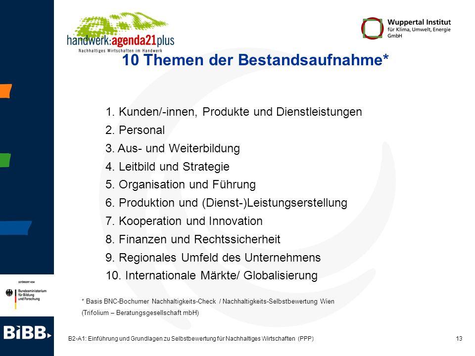 13 B2-A1: Einführung und Grundlagen zu Selbstbewertung für Nachhaltiges Wirtschaften (PPP) 10 Themen der Bestandsaufnahme* 1. Kunden/-innen, Produkte