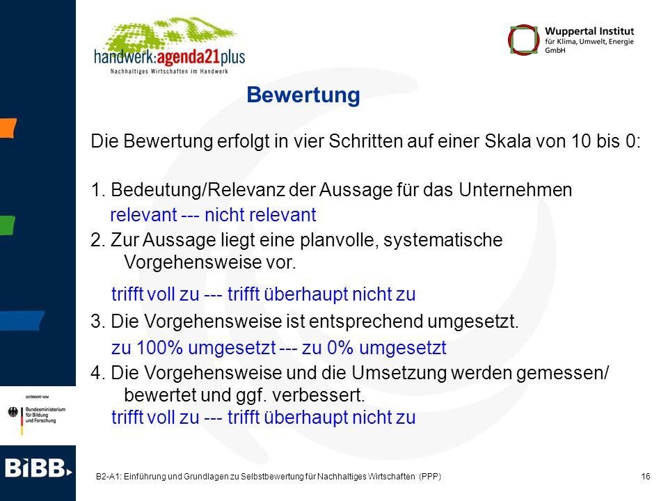 16 B2-A1: Einführung und Grundlagen zu Selbstbewertung für Nachhaltiges Wirtschaften (PPP) Bewertung Die Bewertung erfolgt in vier Schritten auf einer