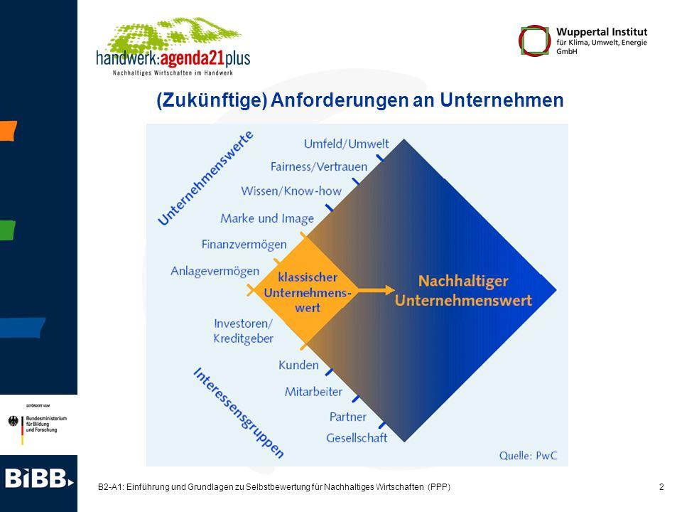 13 B2-A1: Einführung und Grundlagen zu Selbstbewertung für Nachhaltiges Wirtschaften (PPP) 10 Themen der Bestandsaufnahme* 1.