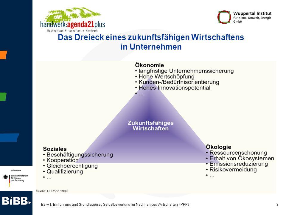 3 B2-A1: Einführung und Grundlagen zu Selbstbewertung für Nachhaltiges Wirtschaften (PPP) Das Dreieck eines zukunftsfähigen Wirtschaftens in Unternehm