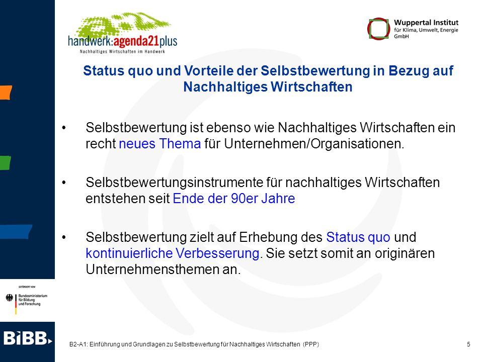 5 B2-A1: Einführung und Grundlagen zu Selbstbewertung für Nachhaltiges Wirtschaften (PPP) Selbstbewertung ist ebenso wie Nachhaltiges Wirtschaften ein