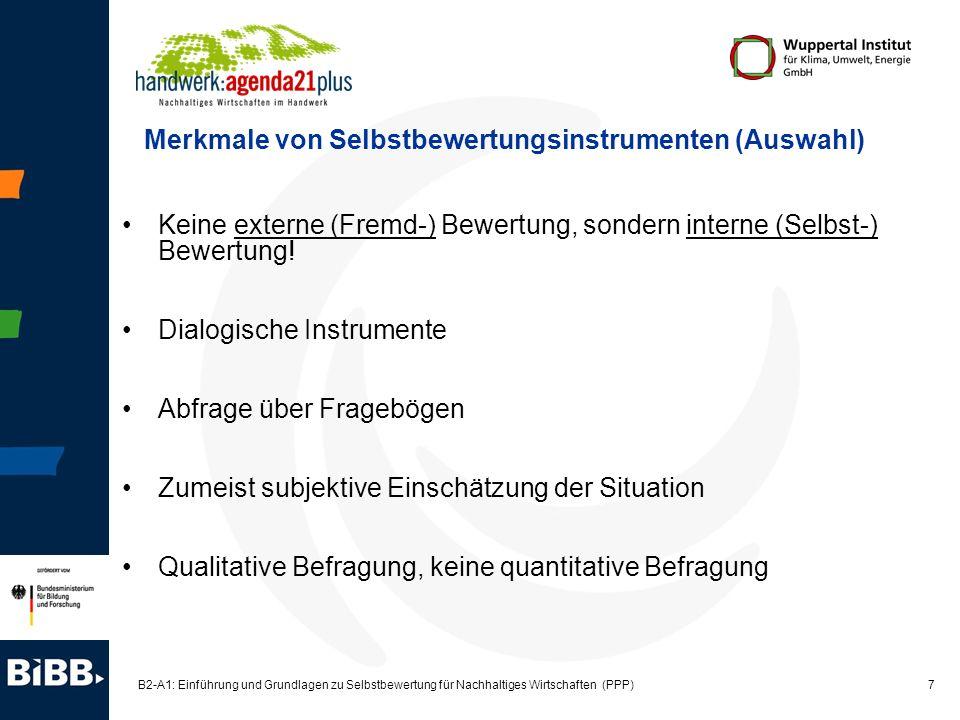 18 B2-A1: Einführung und Grundlagen zu Selbstbewertung für Nachhaltiges Wirtschaften (PPP) Ergebnisse und Nutzen der Selbstbewertung Ergebnisse der Selbstbewertung: Detaillierte Status-quo-Analyse, differenziert nach zehn Tätigkeitsbereichen des Unternehmens und drei Handlungsaspekten (Vorgehen, Umsetzung, Bewertung) Maßnahmenplan, der auf der Status-quo-Analyse fußt Systematische Verbesserungsmaßnahmen / Maßnahmenplan Nutzen für das Unternehmen: Identifikation von konkreten Verbesserungs- und Einsparpotentialen Kontinuierlicher Verbesserungsprozess Steigerung der Wahrnehmungs- und Reflexions-, Fach-, Methoden- und Sozialkompetenzen der Beteiligten