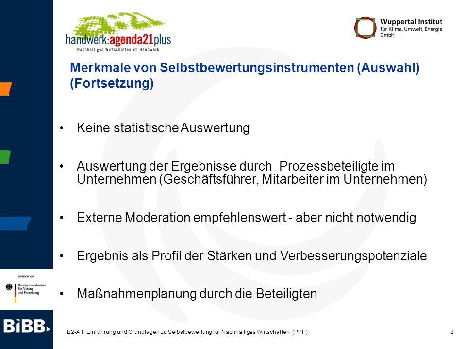 8 B2-A1: Einführung und Grundlagen zu Selbstbewertung für Nachhaltiges Wirtschaften (PPP) Keine statistische Auswertung Auswertung der Ergebnisse durc