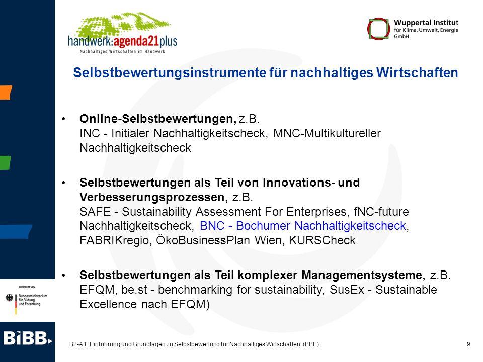 9 B2-A1: Einführung und Grundlagen zu Selbstbewertung für Nachhaltiges Wirtschaften (PPP) Online-Selbstbewertungen, z.B. INC - Initialer Nachhaltigkei