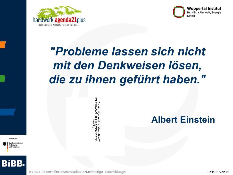 B1-A1: PowerPoint-Präsentation »Nachhaltige Entwicklung«