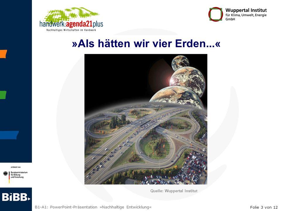 B1-A1: PowerPoint-Präsentation »Nachhaltige Entwicklung« »Als hätten wir vier Erden...« Quelle: Wuppertal Institut Folie 3 von 12