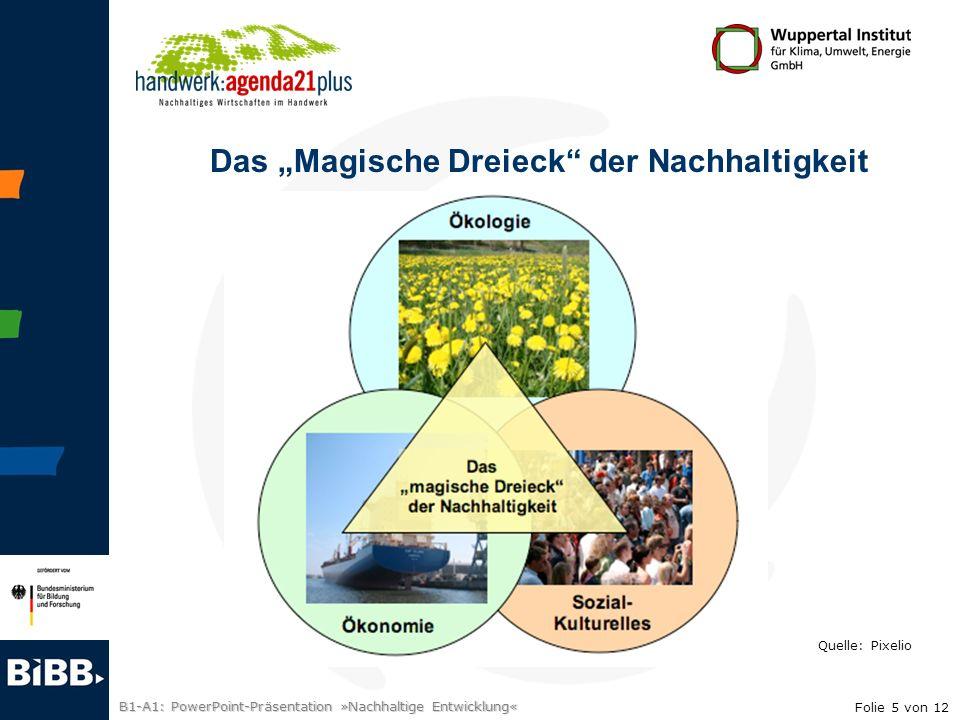 B1-A1: PowerPoint-Präsentation »Nachhaltige Entwicklung« Das Magische Dreieck der Nachhaltigkeit Quelle: Pixelio Folie 5 von 12
