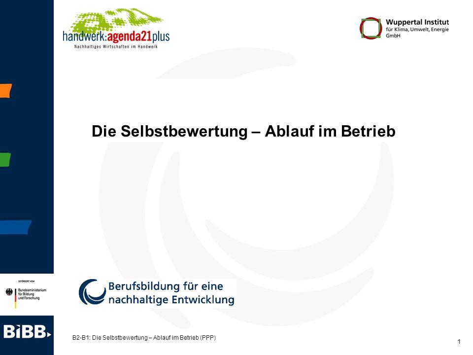 B2-B1: Die Selbstbewertung – Ablauf im Betrieb (PPP) 2 Grober Ablauf im Unternehmen 1.