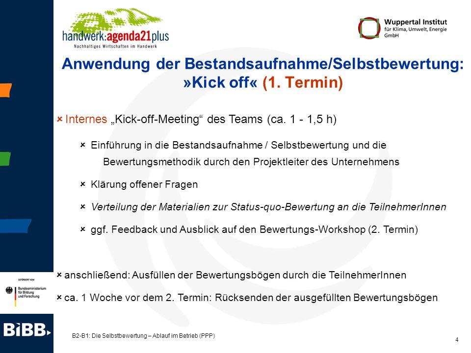 B2-B1: Die Selbstbewertung – Ablauf im Betrieb (PPP) 4 Anwendung der Bestandsaufnahme/Selbstbewertung: »Kick off« (1. Termin) Internes Kick-off-Meetin