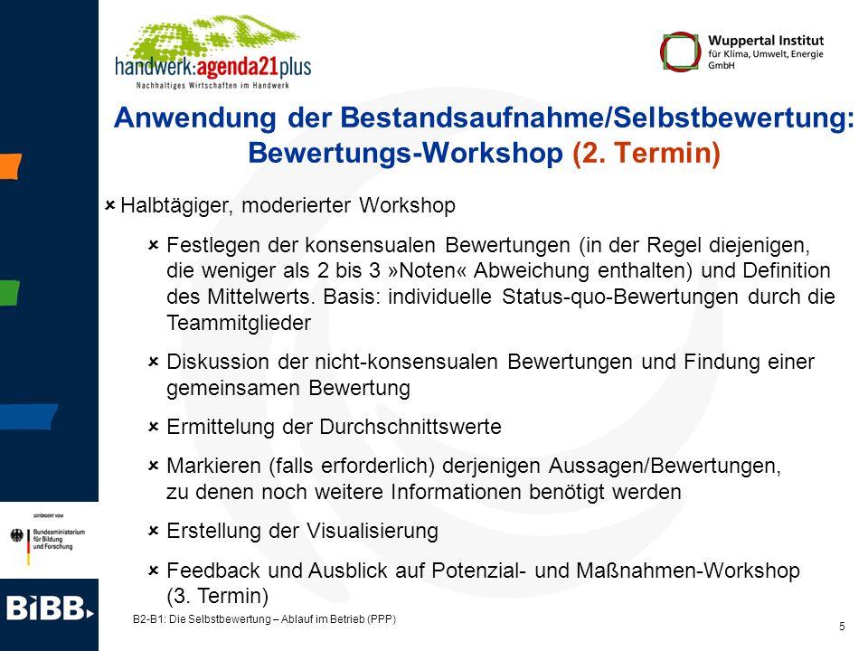 B2-B1: Die Selbstbewertung – Ablauf im Betrieb (PPP) 6 Anwendung der Bestandsaufnahme/Selbstbewertung: Potenzial- und Maßnahmen-Workshop (3.