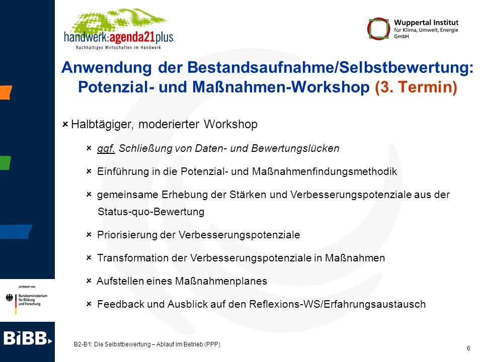 B2-B1: Die Selbstbewertung – Ablauf im Betrieb (PPP) 6 Anwendung der Bestandsaufnahme/Selbstbewertung: Potenzial- und Maßnahmen-Workshop (3. Termin) H