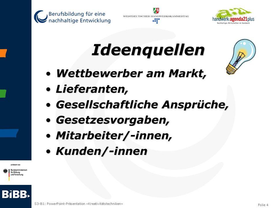 S3-B1: PowerPoint-Präsentation »Kreativitätstechniken« Folie 4 Ideenquellen Wettbewerber am Markt,Wettbewerber am Markt, Lieferanten,Lieferanten, Gese