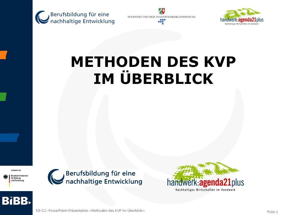 S8-C1: PowerPoint-Präsentation »Methoden des KVP im Überblick« Folie 1 METHODEN DES KVP IM ÜBERBLICK