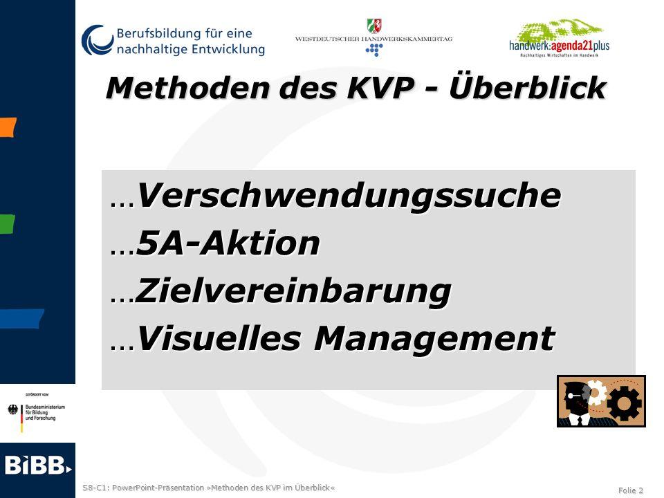 S8-C1: PowerPoint-Präsentation »Methoden des KVP im Überblick« Folie 2 Methoden des KVP - Überblick …Verschwendungssuche …5A-Aktion …Zielvereinbarung