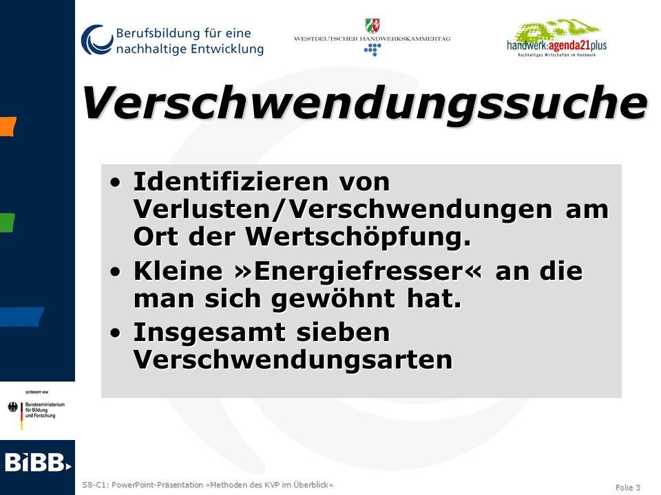 S8-C1: PowerPoint-Präsentation »Methoden des KVP im Überblick« Folie 3 Verschwendungssuche Identifizieren von Verlusten/Verschwendungen am Ort der Wer