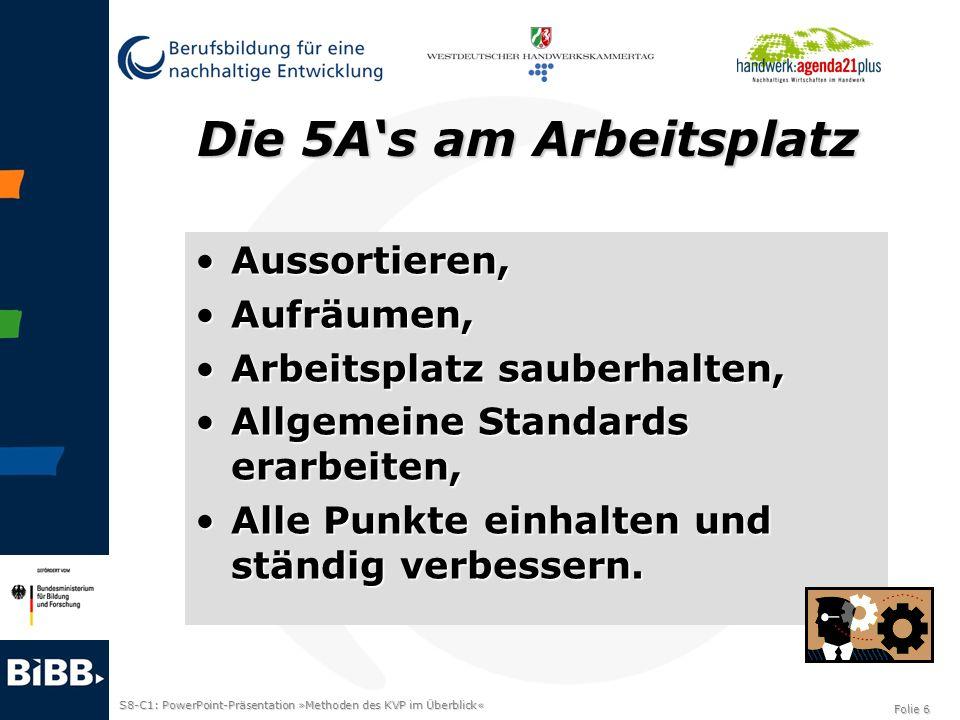 S8-C1: PowerPoint-Präsentation »Methoden des KVP im Überblick« Folie 6 Die 5As am Arbeitsplatz Aussortieren,Aussortieren, Aufräumen,Aufräumen, Arbeits