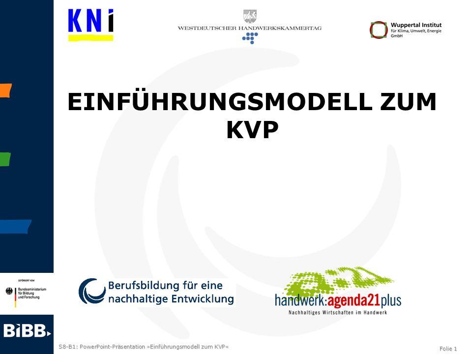 S8-B1: PowerPoint-Präsentation »Einführungsmodell zum KVP« Folie 1 EINFÜHRUNGSMODELL ZUM KVP