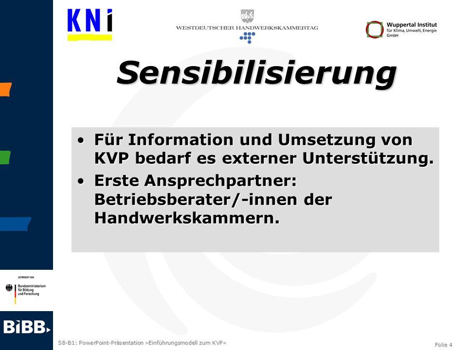S8-B1: PowerPoint-Präsentation »Einführungsmodell zum KVP« Folie 4 Sensibilisierung Für Information und Umsetzung von KVP bedarf es externer Unterstüt