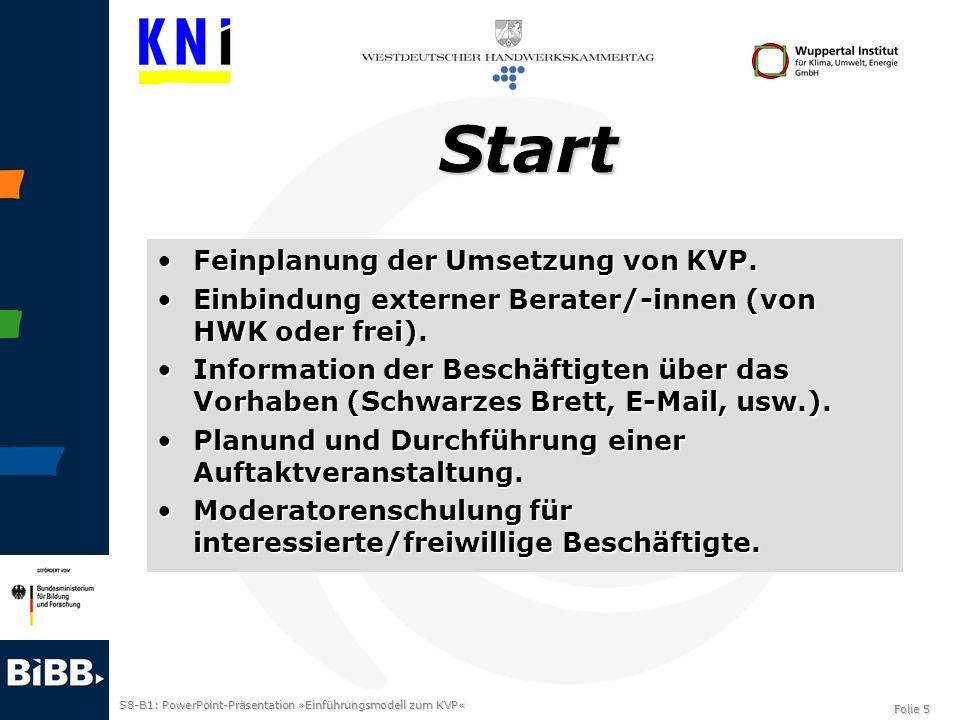 S8-B1: PowerPoint-Präsentation »Einführungsmodell zum KVP« Folie 5 Start Feinplanung der Umsetzung von KVP.Feinplanung der Umsetzung von KVP. Einbindu