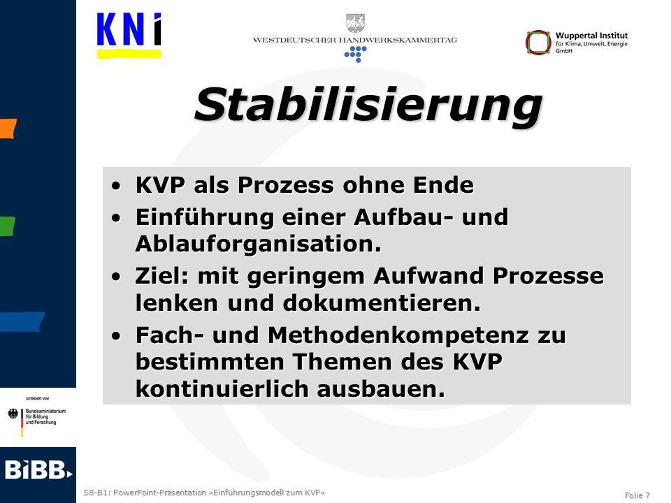 S8-B1: PowerPoint-Präsentation »Einführungsmodell zum KVP« Folie 7 Stabilisierung KVP als Prozess ohne EndeKVP als Prozess ohne Ende Einführung einer