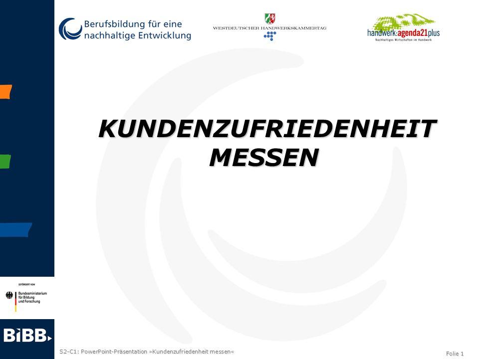 S2-C1: PowerPoint-Präsentation »Kundenzufriedenheit messen« Folie 1 KUNDENZUFRIEDENHEIT MESSEN