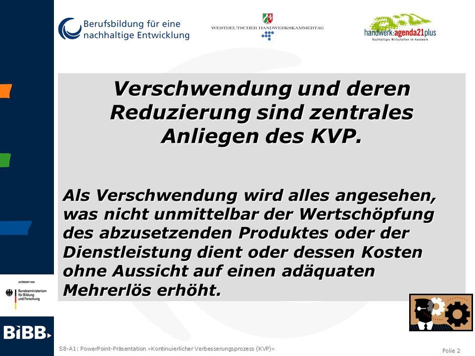 S8-A1: PowerPoint-Präsentation »Kontinuierlicher Verbesserungsprozess (KVP)« Folie 3 Bild KVP (Kostka/Kostka, S.18)