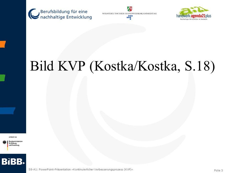 S8-A1: PowerPoint-Präsentation »Kontinuierlicher Verbesserungsprozess (KVP)« Folie 4 KVP-Prinzipien KVP-Prinzipien …Verbesserungs- und Nachhaltigkeitsorientierung …Beschäftigtenorientierung …Prozess- und Ergebnisorientierung …Qualitätsorientierung …Kundenorientierung …Transparenz- und Faktenorientierung