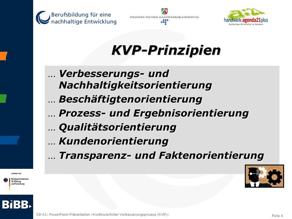 S8-A1: PowerPoint-Präsentation »Kontinuierlicher Verbesserungsprozess (KVP)« Folie 5 Bild in Anlehnung an Kostka/Kostka S.