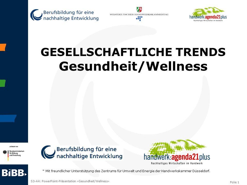 S3-A4: PowerPoint-Präsentation »Gesundheit/Wellness« Folie 1 GESELLSCHAFTLICHE TRENDS Gesundheit/Wellness * Mit freundlicher Unterstützung des Zentrum