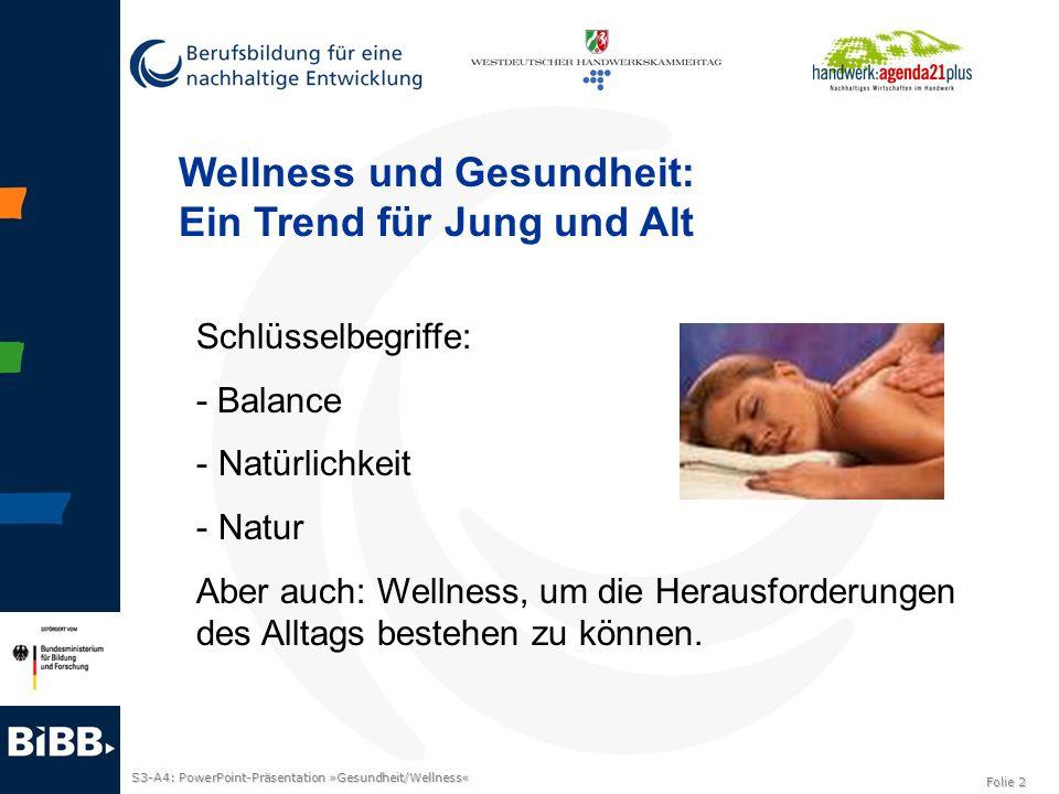 S3-A4: PowerPoint-Präsentation »Gesundheit/Wellness« Folie 2 Wellness und Gesundheit: Ein Trend für Jung und Alt Schlüsselbegriffe: - Balance - Natürl