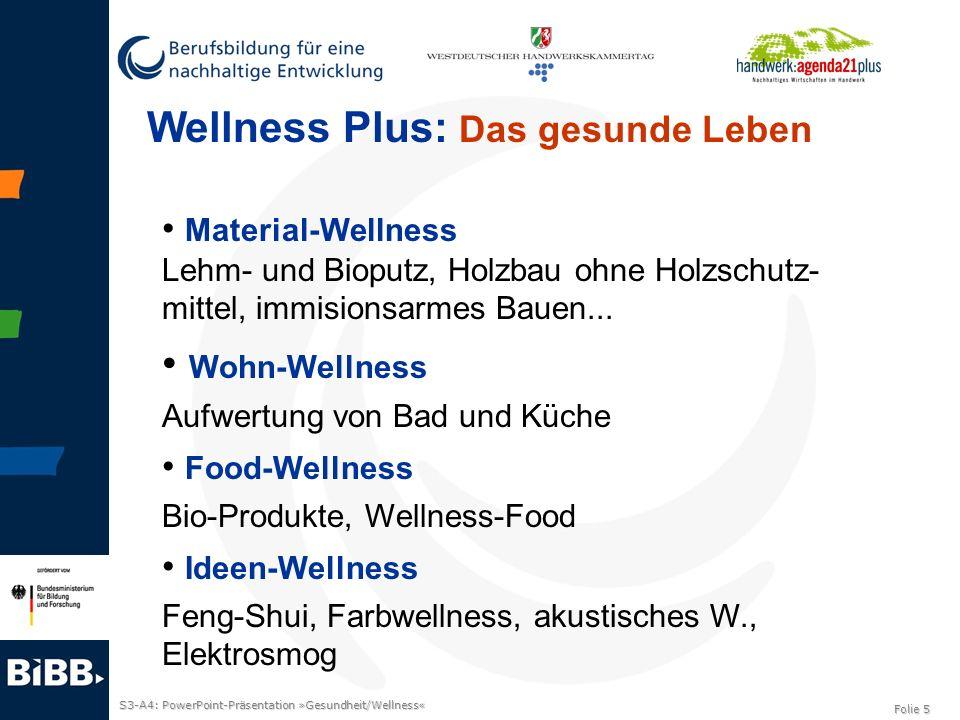 S3-A4: PowerPoint-Präsentation »Gesundheit/Wellness« Folie 5 Wellness Plus: Das gesunde Leben Material-Wellness Lehm- und Bioputz, Holzbau ohne Holzsc