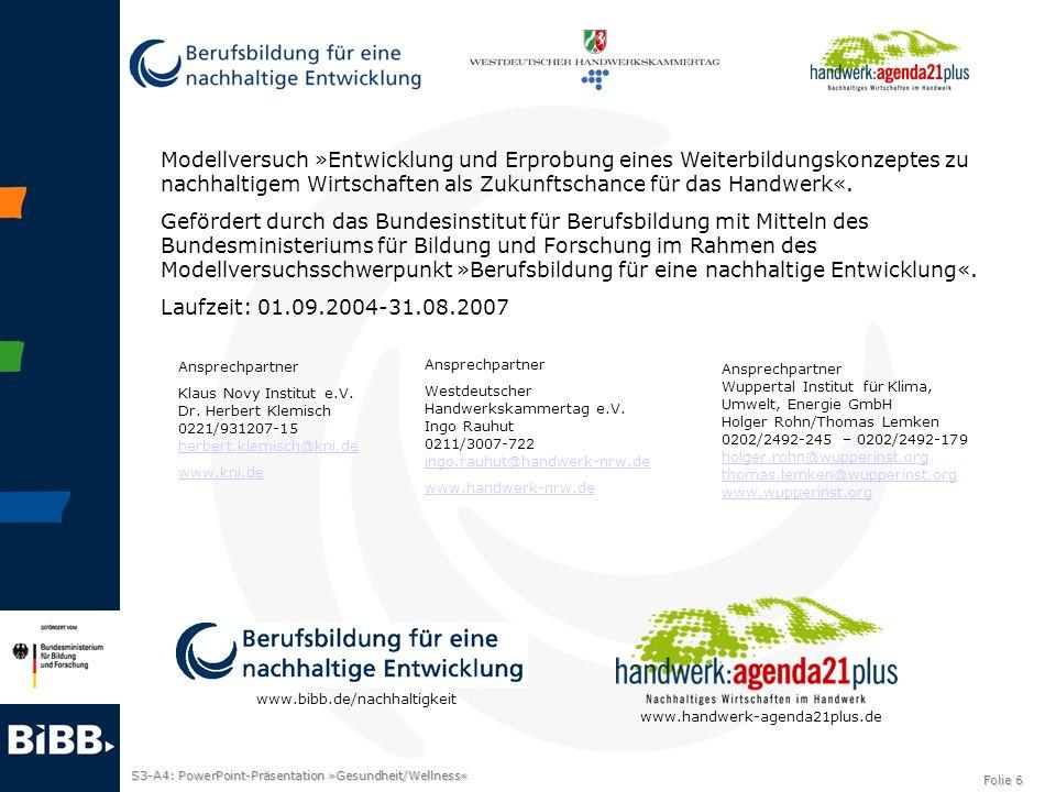 S3-A4: PowerPoint-Präsentation »Gesundheit/Wellness« Folie 6 Modellversuch »Entwicklung und Erprobung eines Weiterbildungskonzeptes zu nachhaltigem Wi