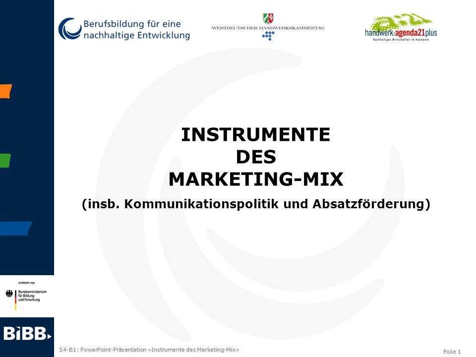 S4-B1: PowerPoint-Präsentation »Instrumente des Marketing-Mix« Folie 2 Instrumente der Kommunikationspolitik/Absatzförderung Werbung Public Relations Verkaufsförderung Persönlicher Verkauf