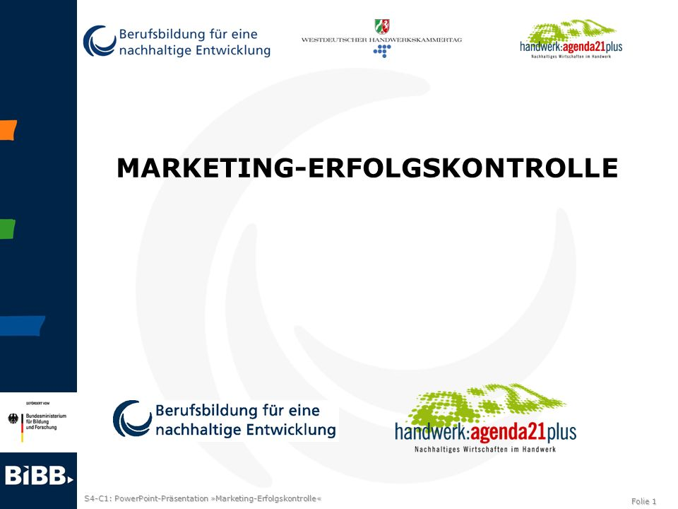 S4-C1: PowerPoint-Präsentation »Marketing-Erfolgskontrolle« Folie 1 MARKETING-ERFOLGSKONTROLLE