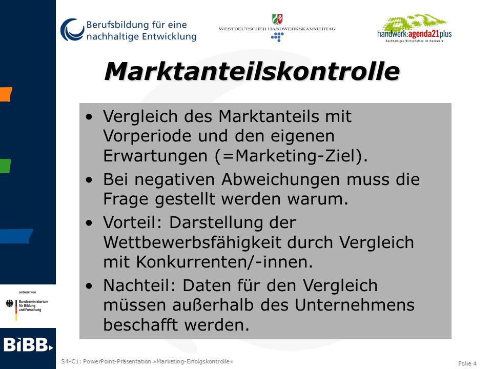 S4-C1: PowerPoint-Präsentation »Marketing-Erfolgskontrolle« Folie 4 Marktanteilskontrolle Vergleich des Marktanteils mit Vorperiode und den eigenen Er