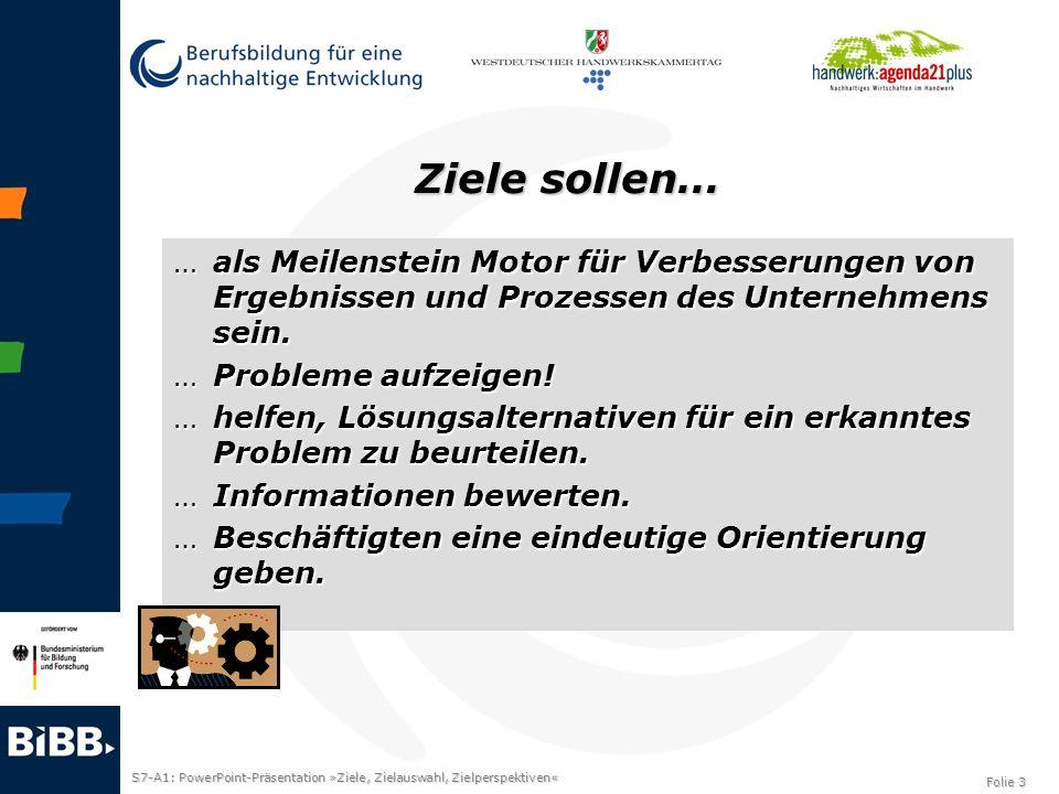 S7-A1: PowerPoint-Präsentation »Ziele, Zielauswahl, Zielperspektiven« Folie 3 Ziele sollen… …als Meilenstein Motor für Verbesserungen von Ergebnissen