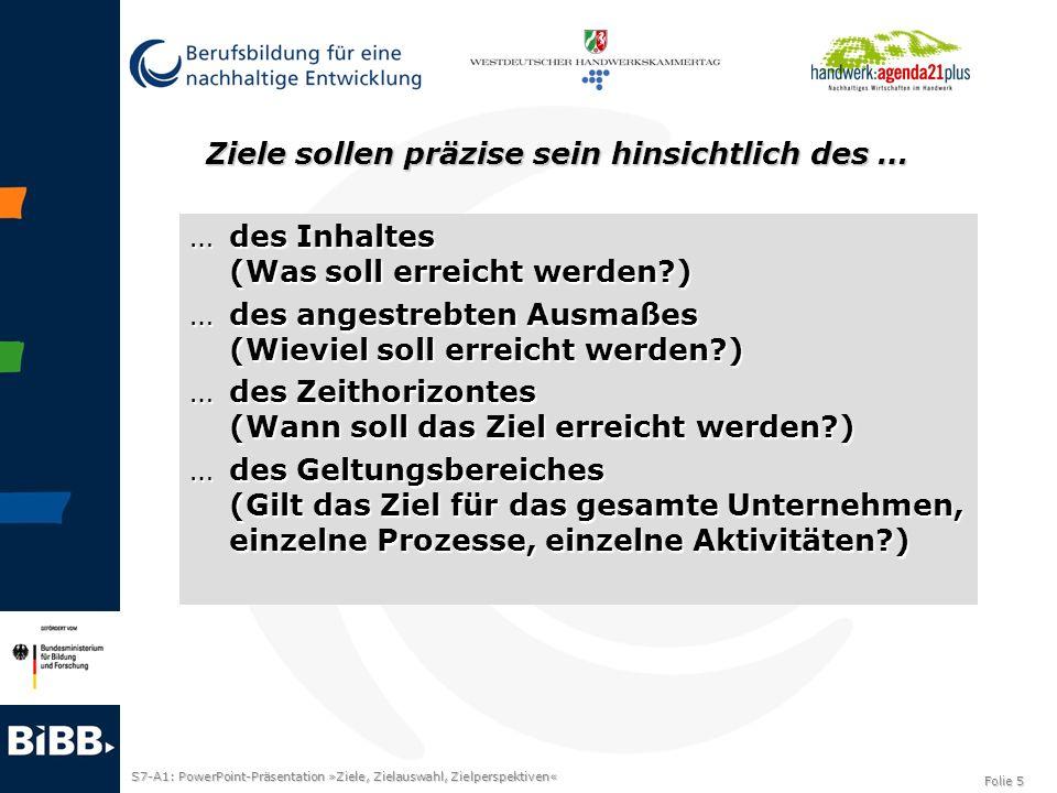 S7-A1: PowerPoint-Präsentation »Ziele, Zielauswahl, Zielperspektiven« Folie 5 Ziele sollen präzise sein hinsichtlich des … …des Inhaltes (Was soll err
