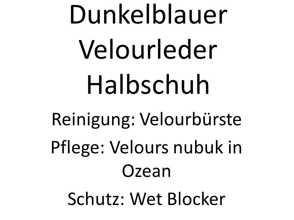 Dunkelblauer Velourleder Halbschuh Reinigung: Velourbürste Pflege: Velours nubuk in Ozean Schutz: Wet Blocker